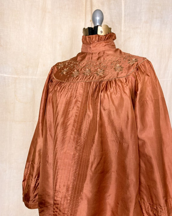 Silk Peasant Blouse | 70s Embroidered Top | Vinta… - image 9