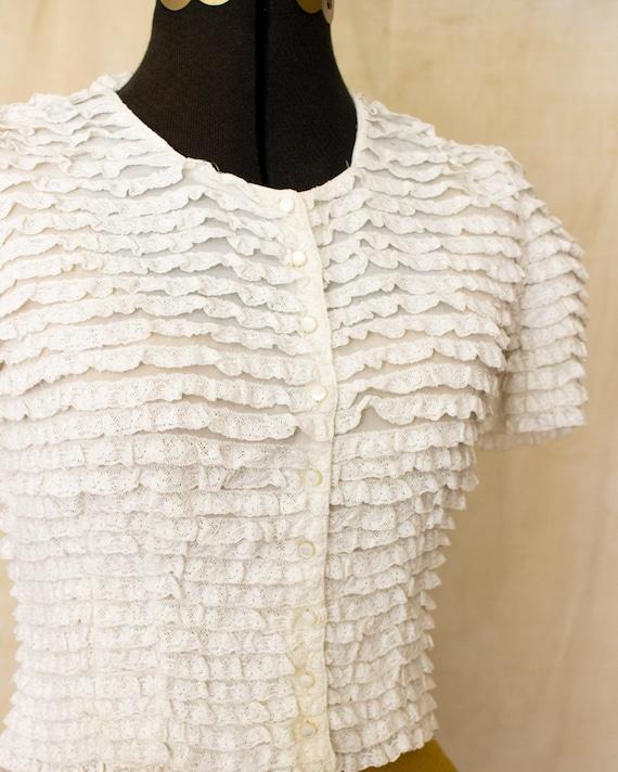 lace ruffle blouse   40s blouse   antique white b… - image 9