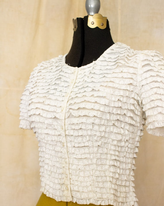 lace ruffle blouse   40s blouse   antique white b… - image 8