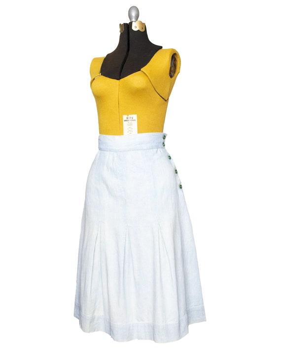 Whitewash -  1940s Side Button Denim Skirt | small