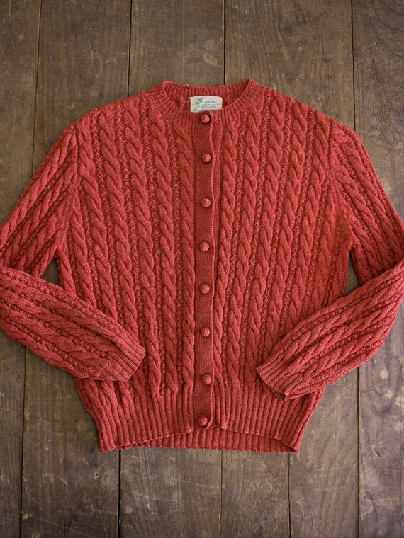 Rust Wool Sweater | Hand Knit Sweater | 50s Cardig