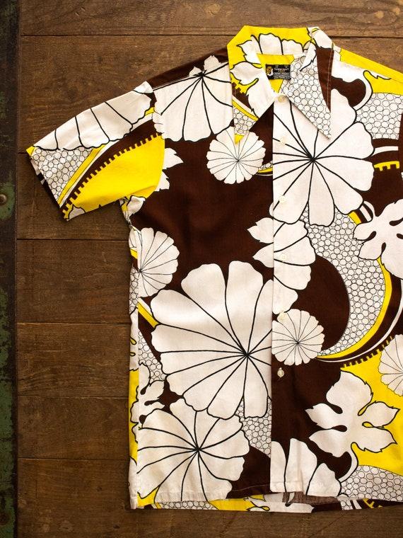 Rayon Cotton Shirt | 70s Towncraft Shirt | 60s Mod