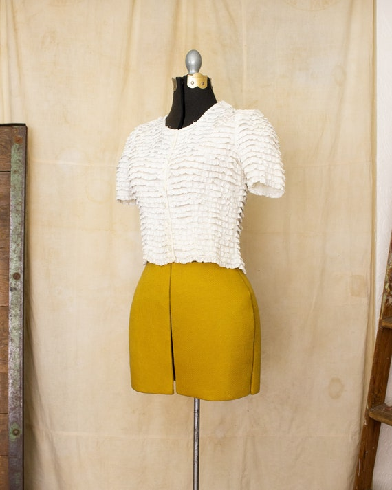 lace ruffle blouse   40s blouse   antique white b… - image 4
