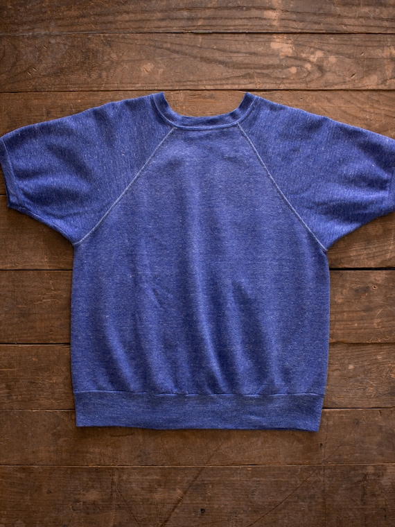 Blue Short Sleeve Sweatshirt | 60s 70s Sweater | D