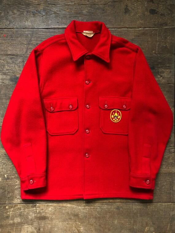 Red Wool Shirt Jacket | Vintage Boy Scout Shirt |