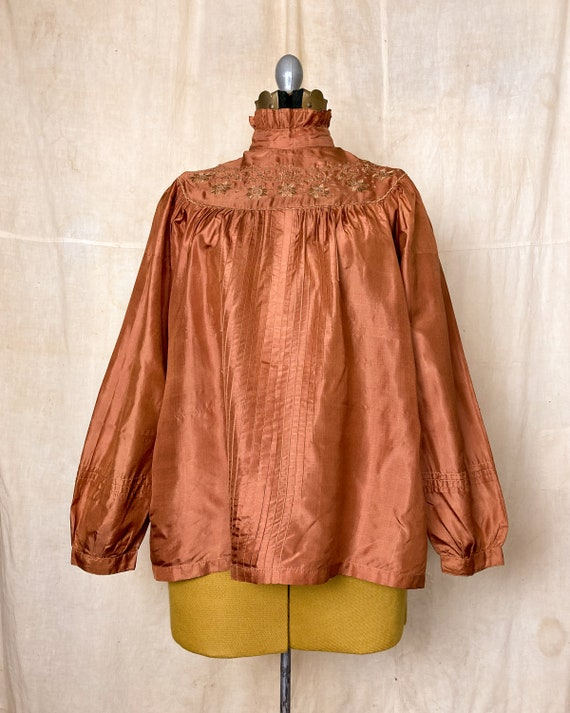 Silk Peasant Blouse | 70s Embroidered Top | Vinta… - image 2