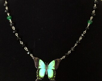 SALE Crystal Beaded Butterfly Necklace