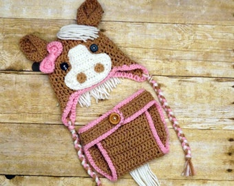 Crochet Horse Hat with matching diaper cover 9b8ebb7378e