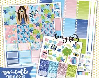 Happy Planner | Summer Getaway PRINTABLE planner stickers | Pdf, Jpg, Png | Instant Download