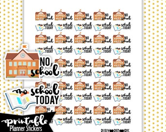 No School PRINTABLE planner Stickers | Pdf, Jpg, Png | Instant Download
