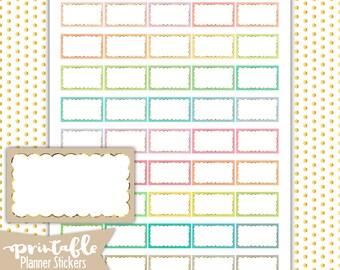 Glitter Scalloped Half Boxes PRINTABLE Planner Stickers | Pdf, Jpg, Silhouette Studio V3 Format | ECLP, Happy Planner