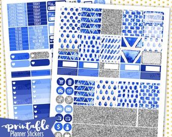 Indigo PRINTABLE Planner Stickers | Pdf, Jpg, Silhouette Studio V3 Format | ECLP Vertical Planner Stickers