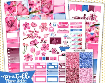 Cherry Blossom Weekly Kit | PRINTABLE Planner Stickers | Pdf, Jpg, and Png Format | ECLP Vertical Planner Stickers