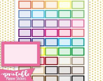 Multi Color half boxes PRINTABLE Planner Stickers | Pdf, Jpg, Silhouette Studio V3 Format