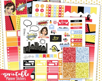 Comic Girl Weekly Kit | PRINTABLE Planner Stickers | Pdf, Jpg, and Png Format | ECLP Vertical Planner Stickers