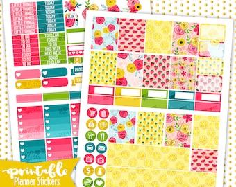 5Summer   PRINTABLE Planner Stickers   Pdf, Jpg, Silhouette Studio V3 Format   ECLP Vertical Planner Stickers