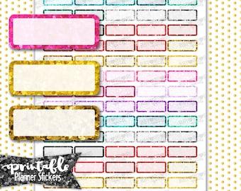 Glitter Quarter Boxes | PRINTABLE Planner Stickers | Pdf, Jpg, Silhouette Studio V3 Format | ECLP Vertical Planner Stickers