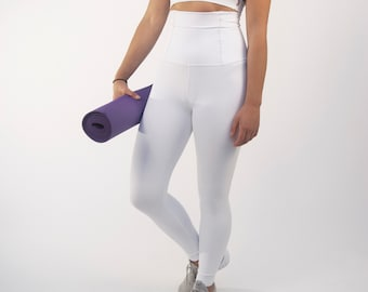 2685cf19abf646 White Lux Super High Rise High Waisted Leggings Tights Yoga Pants Brazilian  Workout Activewear Shapewear