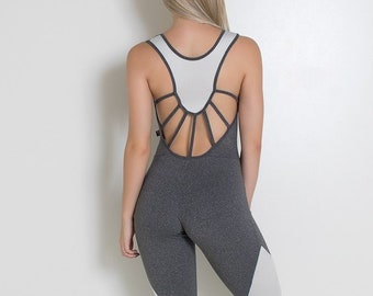 aa5cfd55de Heather Grey Strappy Unitard Bodysuit Catsuit Jumpsuit Brazilian Workout  Activewear