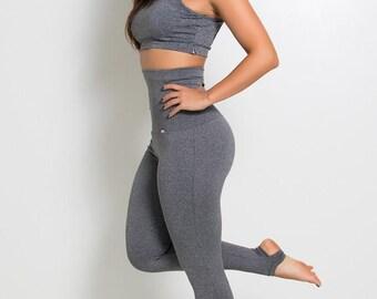 e749528eda Heather Grey Extra High Waisted Stirrup Leggings Yoga Pants Brazilian  Workout Activewear Shapewear