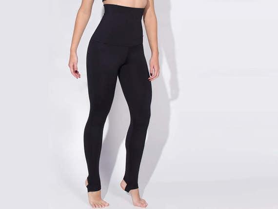 7d648d8e16af5 Black Extra High Waisted Stirrup Leggings Tights Pants