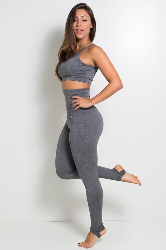 enjoy cheap price choose best authentic Heather Grey Super High Rise High Waisted Stirrup Leggings Yoga Pants  Brazilian Workout Activewear Shapewear