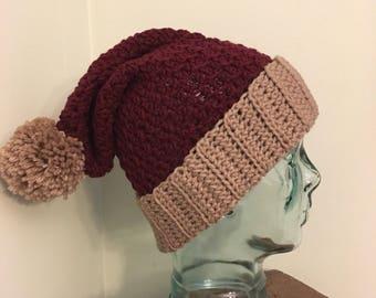 Stars and Stripes USA Beanie Knit Chunky Slouchy Ski Hat with Pom Pom The Easton Cranberry Fisherman Navy