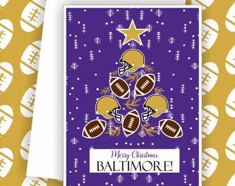 Carte De Joyeux Noel Football Denver Ventilateur Carte De Etsy