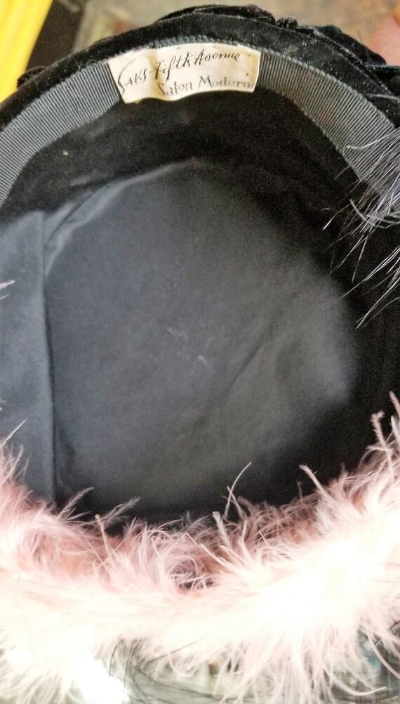 Saks Fifth Avenue - Salon Moderne Velveteen & Feather hat Pink/Black
