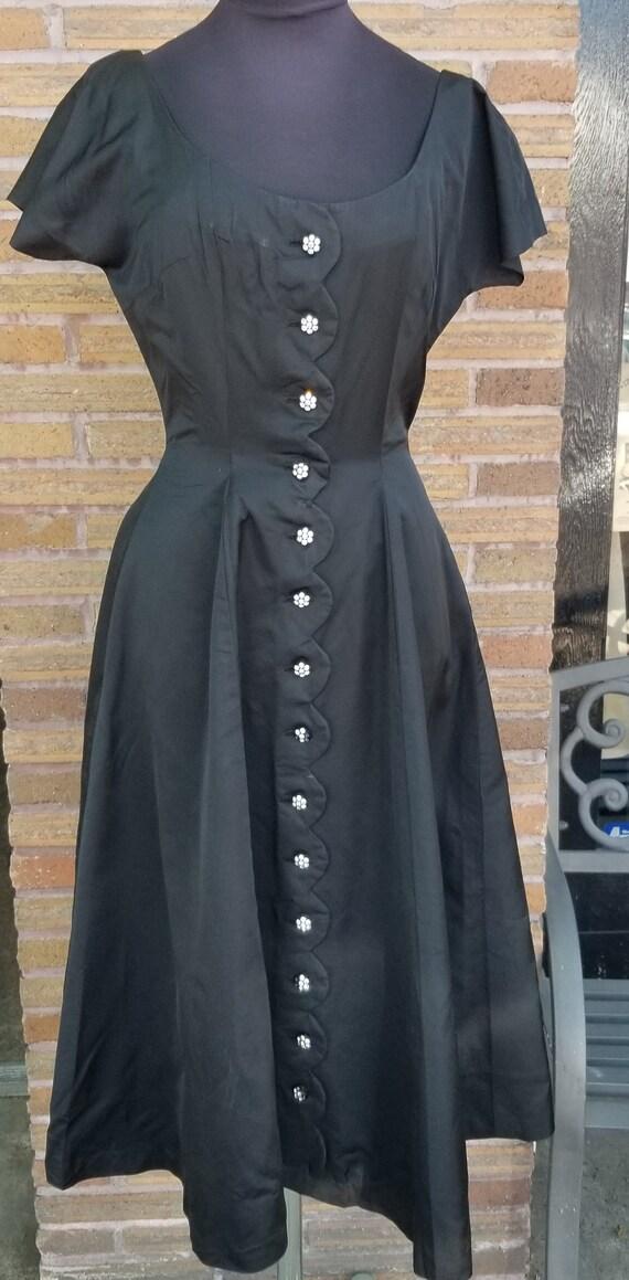 Pat Hartley  Original Black Button Down Dress - Sz
