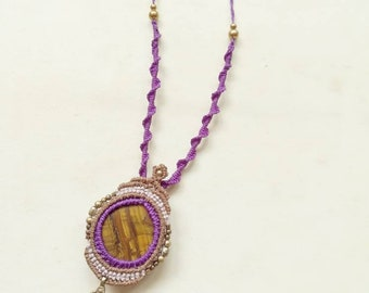 Macrame Necklace with Tigereye cabochon
