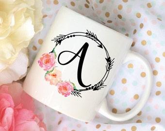 Custom Letter Coffee Mug, Arrows with Watercolor Floral Coffee Mug, Sublimation Mug, 2 Sided