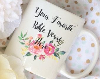 Custom Bible Verse Coffee Mug, Watercolor Floral Coffee Mug,  Sublimation Mug, 2 Sided