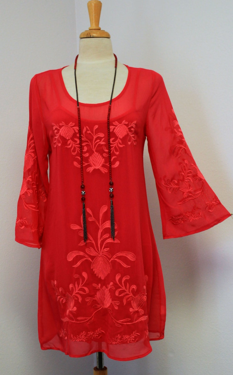 Hip Hop New Dashing and Chic high end  Embroidered 2 PC Tunic and Matching Slip Boho