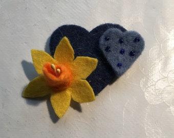 Daffodil And Blue Hearts Felt Brooch