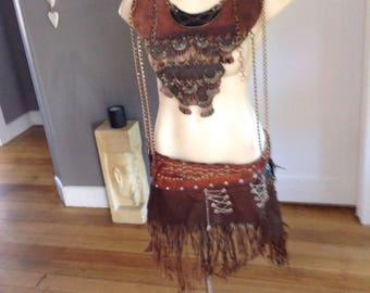 Skirt & breastplate tribal, barbarian, burning man , viking.