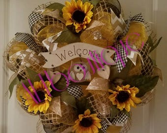 Welcome Wreath, Wreath with Owl, Golden Fall Wreath