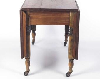 Antique Drop Leaf Table Dining Cherry Wood Casters Primitive Rustic