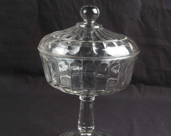 Antique glass compote vintage EAPG clear pattern footed covered lid ribbon 10.75""