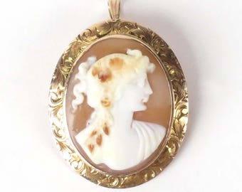 Antique 14k gold cameo brooch pin Champenois CXK shell Victorian pendant signed vintage
