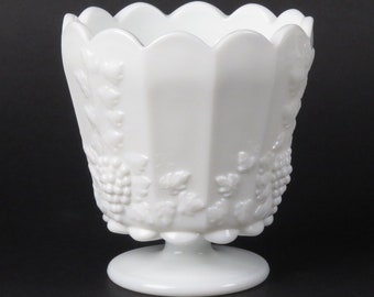 Westmoreland paneled grape milk glass footed medium straight jardiniere vintage