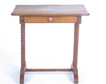 vintage small table side stand 1 drawer barley twist legs wooden scalloped top - Small Antique Side Tables