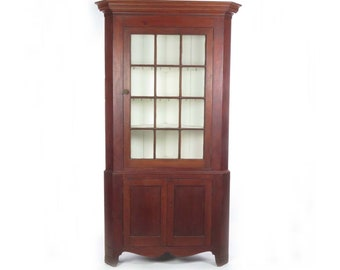Antique Corner Cupboard Cabinet Hutch Wood American Glass Door 19th C