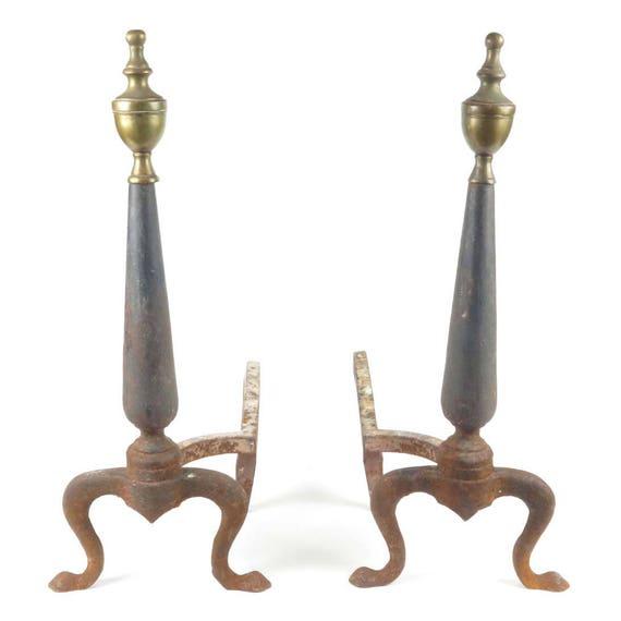 antique fireplace andirons cast iron brass finials queen anne etsy rh etsy com Knick Andirons Antique Cast Iron Owl Andirons