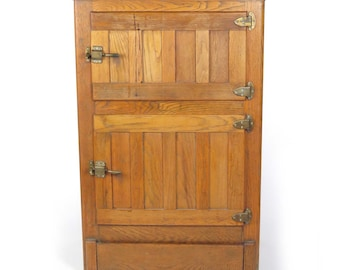 Antique oak ice box commercial cabinet cupboard general store back service door
