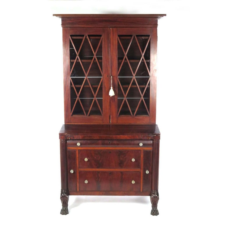 Admirable Antique Secretary Desk Bookcase Mahogany Empire 19Th Century Download Free Architecture Designs Embacsunscenecom