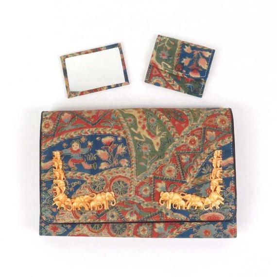 Vintage clutch handbag purse plastic elephants fab