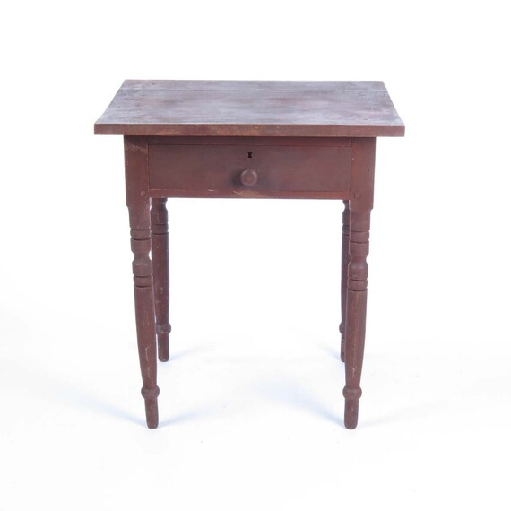 Antique side table one drawer work stand maple red stain