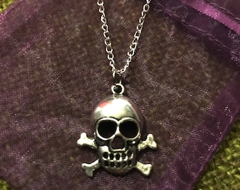 OOAK Silver Skull and Crossbones Necklace