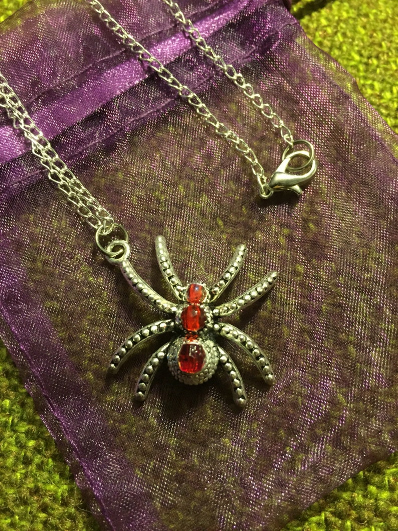 Large Silver /& Red Spider Necklace